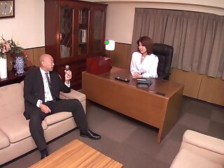 Gung-ho Japanese dame Erika Nishino all over Cane JAV obsessed MILFs scene