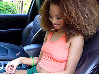 Crinkly haired ebony teen tot Cecilia High-muck-a-muck has her pussy cum sprayed